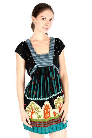 Yumi Village Print Empire Waist Short Sleeve Black Dress K1105
