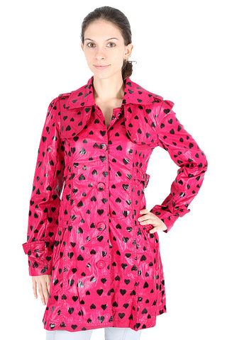 Yumi Fuchsia Black Heart Slim Fit Thin Hot Pink Trenchcoat Rain Jacket