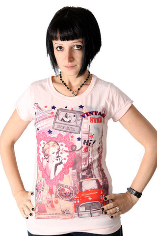Yumi Pink Vintage Top Retro Tee Marilyn Monroe Hollywood Stars T-Shirt