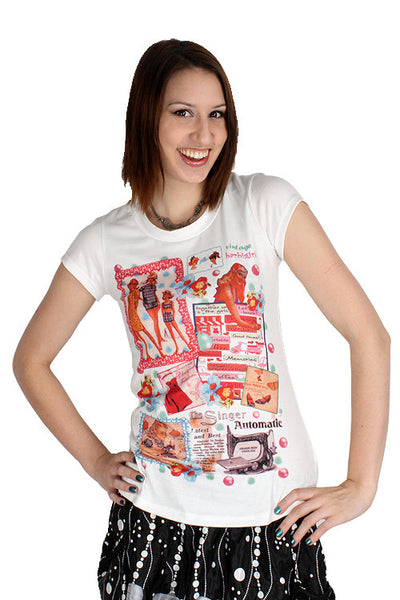 Yumi White Vintage Ad Top Retro Tee Barbi Girl Scrapbook T-Shirt K1469 Ladies Short Sleeve T-Shirts DUSK Deals - 1