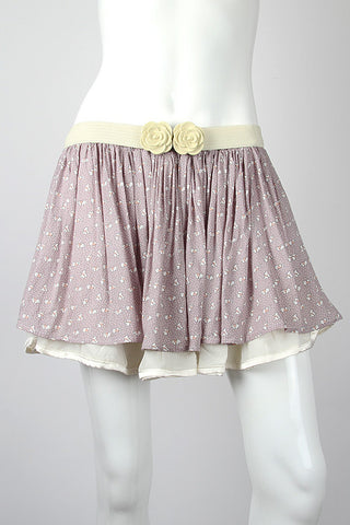 Yumi Beatrix Bunny Grey Cream Lime Belt Polka Dot Mini Skirt Y458