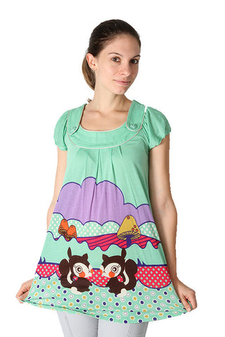 Yumi Mint Green Squirrels Tunic Rose Buttons Polka Dot Dress K1191 Dress DUSK Deals - 1