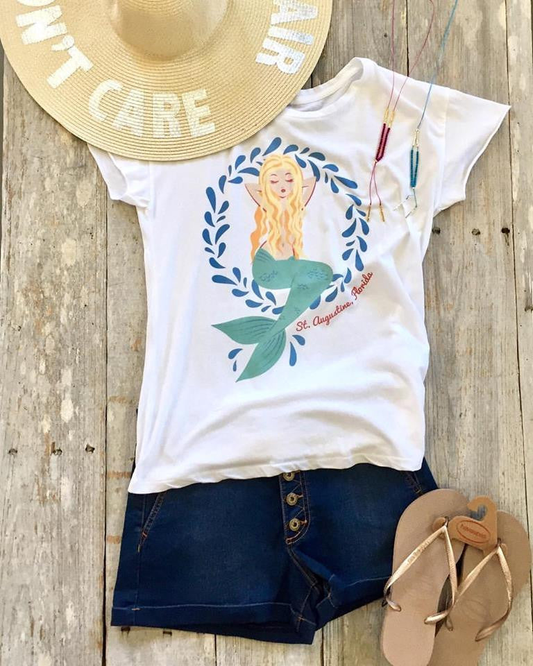 St. Augustine Mermaid Tee in White