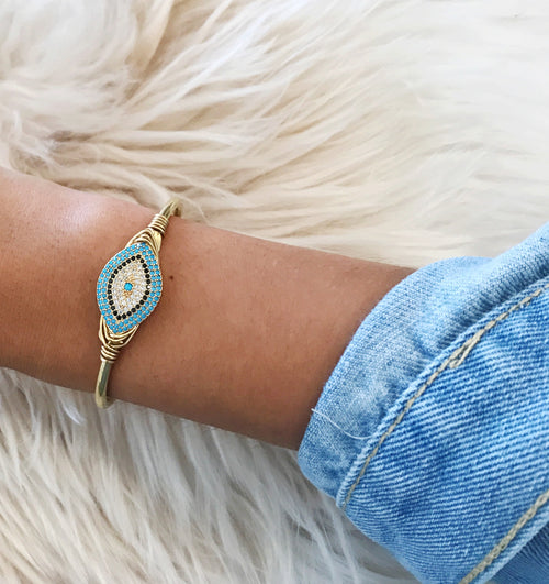 Evil Eye Crystal Cuff