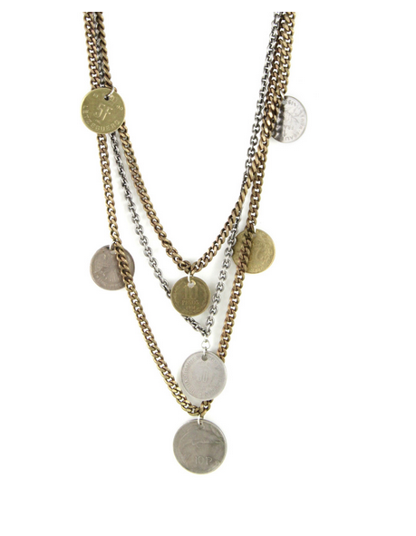 Lucky Penny Mixed Metal Multi-Chain Necklace with Coins