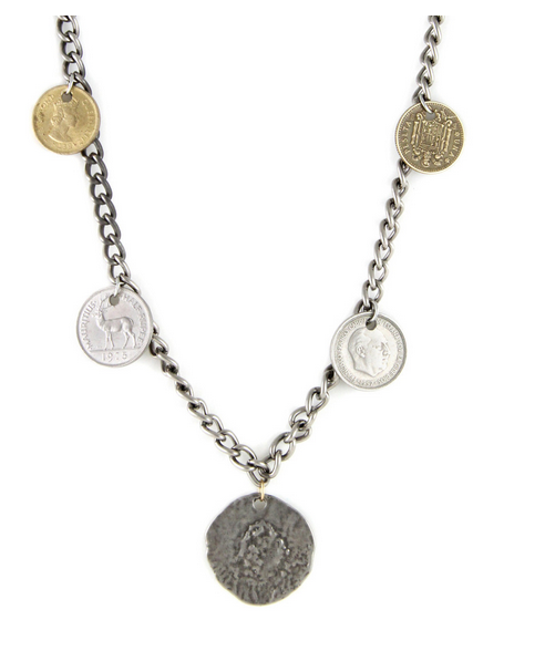 Sunken Treasures Mixed Metal Necklace with Coins
