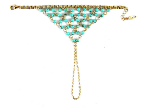 Rainshower Gold Hand Chain Bracelet in Turquoise
