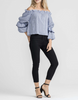 Kendall Off Shoulder Ruffle Sleeve Top in Blue