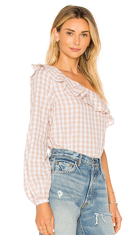The Asymmetrical Blouse in Taupe Gingham