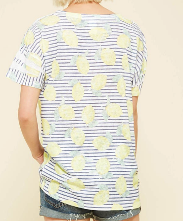 Lydia Striped Lemon Top