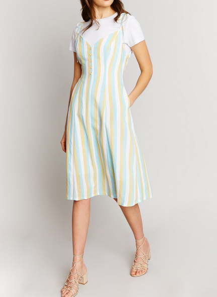 Meah Striped Tie Shoulder Dress