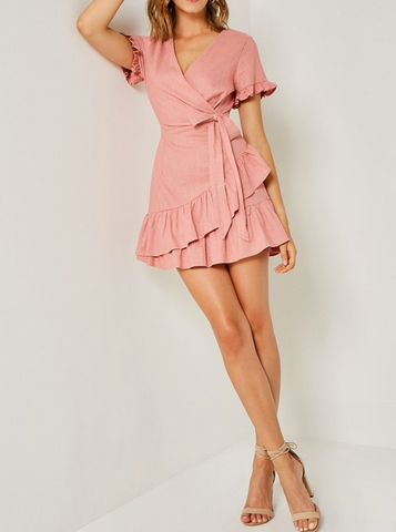 Bella Embroidered Ruffle Sleeve Dress