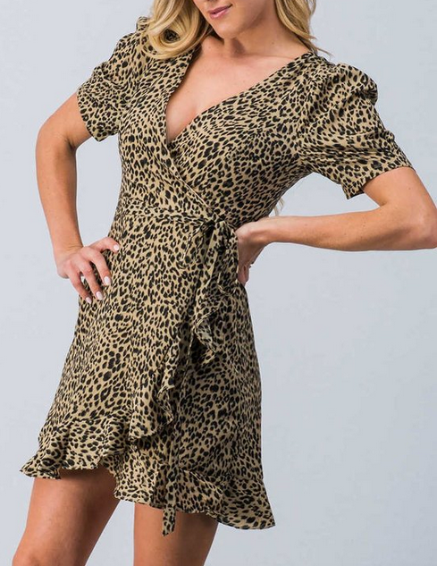 Shae Ruffle Wrap Leopard Dress