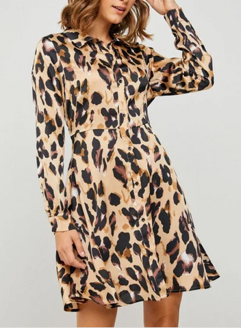 Amelia Satin Leopard Dress