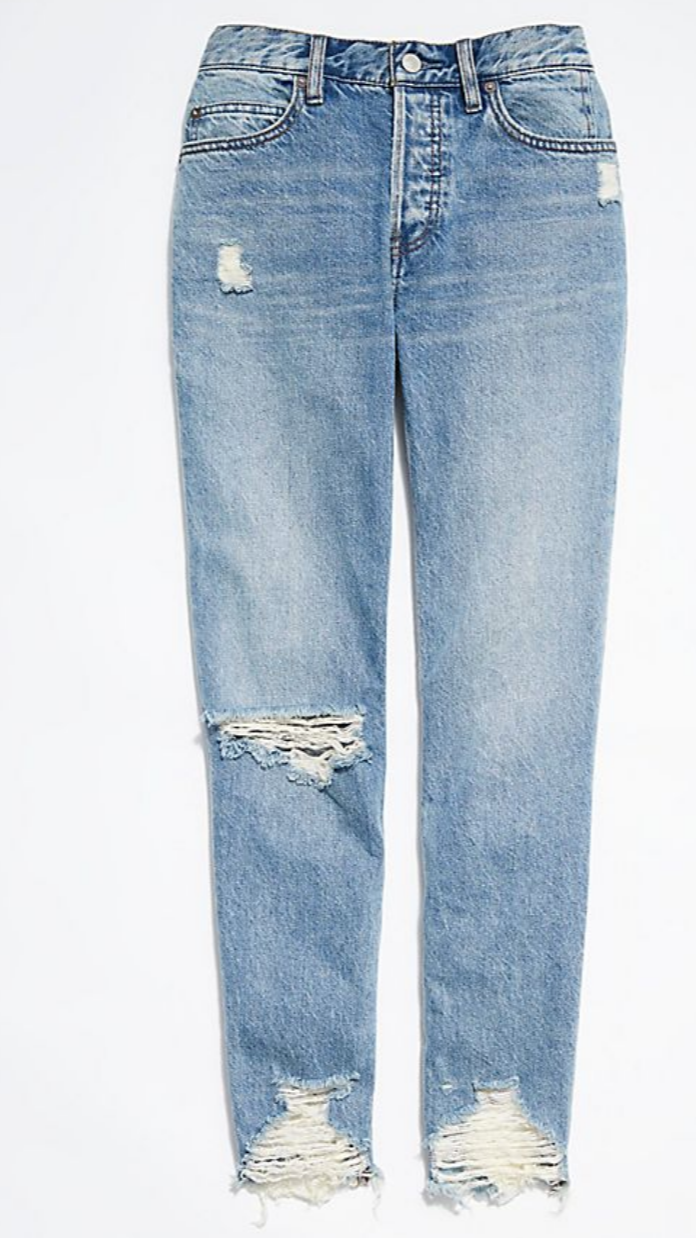 Chewed Up Mid-Rise Straight-Leg Jeans