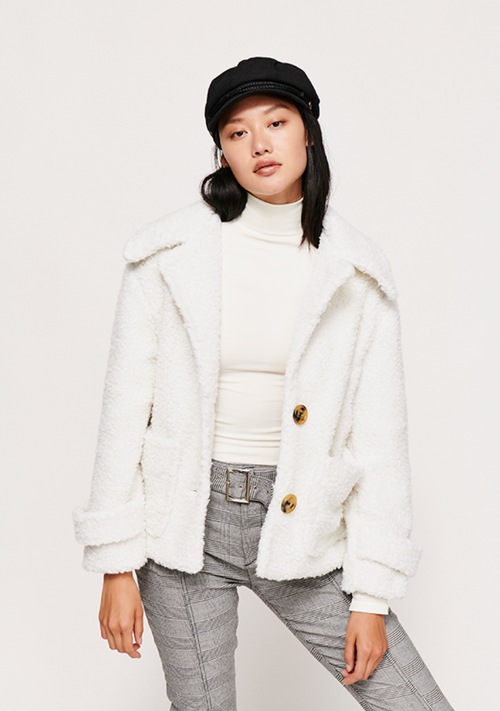 So Soft Cozy Peacoat in Ivory