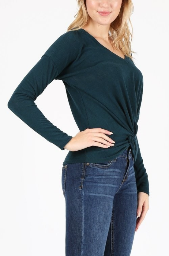 Liz Knot Front Long Sleeve Top