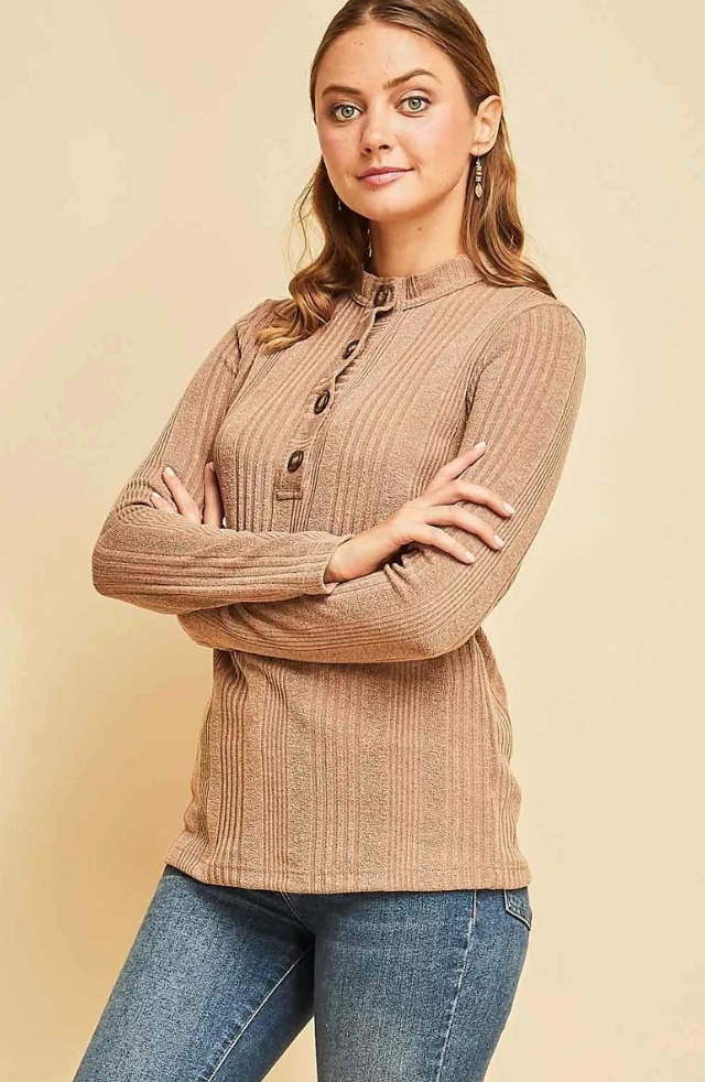 Melissa Button Front Henley