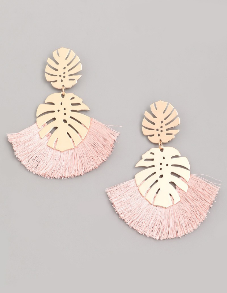 Monstera Leaf Tassel Earring