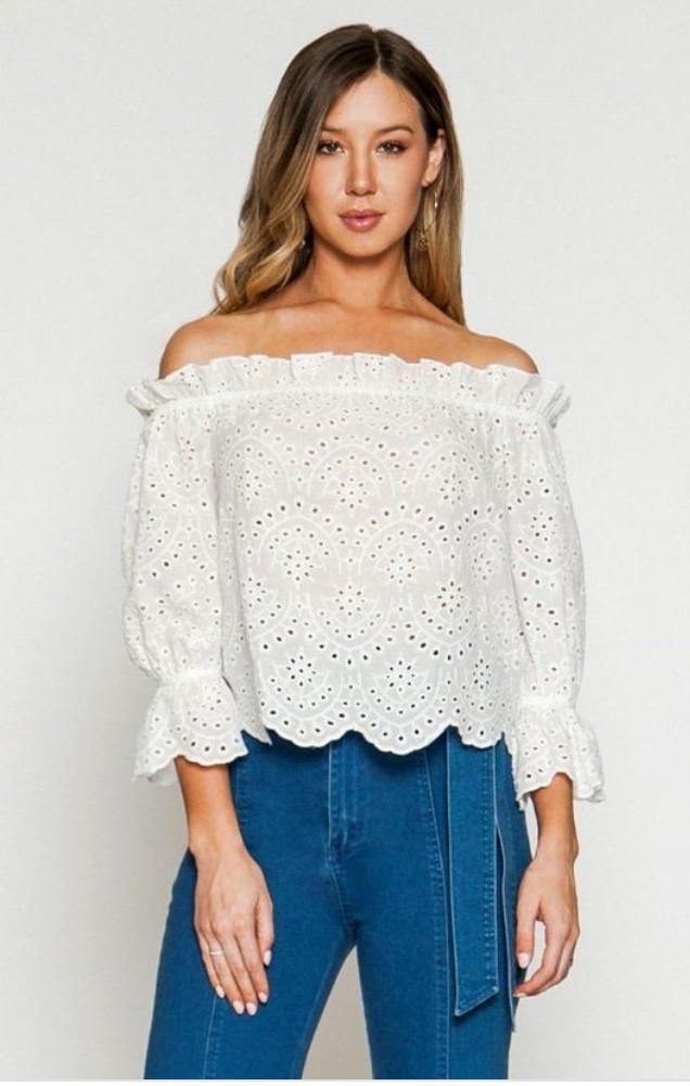 Rae Eyelet Off Shoulder Top