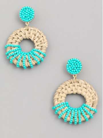 Beaded and Shell Hoop Earrings