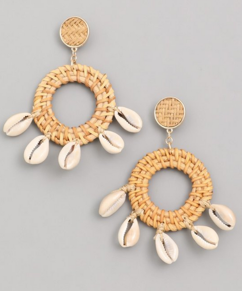 Rattan and Shell Earring