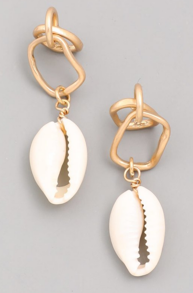 Shell Drop Post Earrings