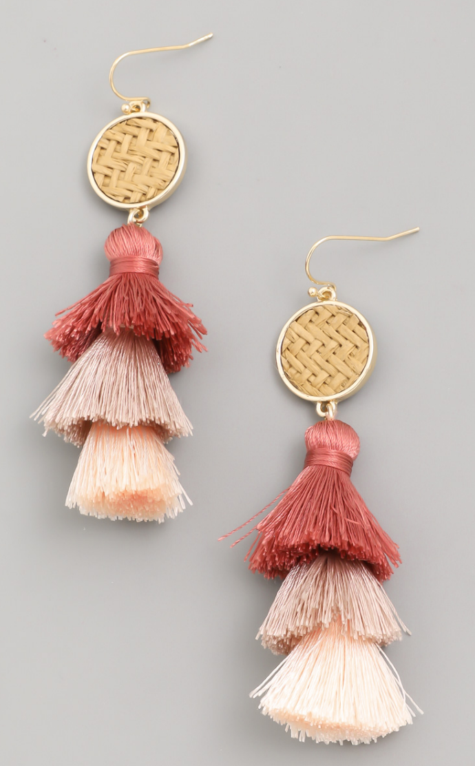 Small Tassel Fan Drop Earrings