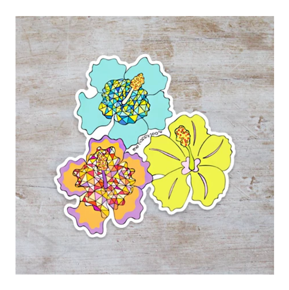 "4"" HIBISCUS VINYL STICKER"