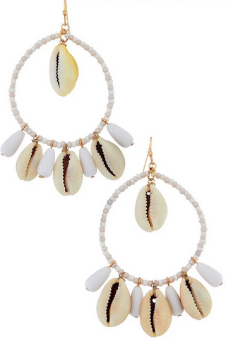 Cowrie Dangle Hoop Earring