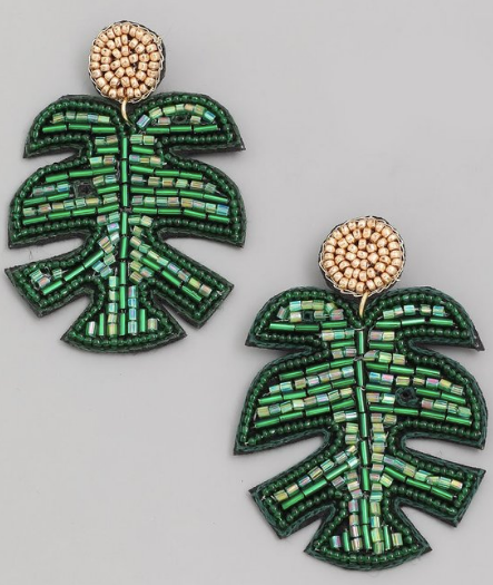 Beaded Monstera Earring