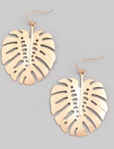 Gold Monstera Dangle Earring