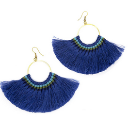 Lamai Fringe Tassel Earring Royal Blue