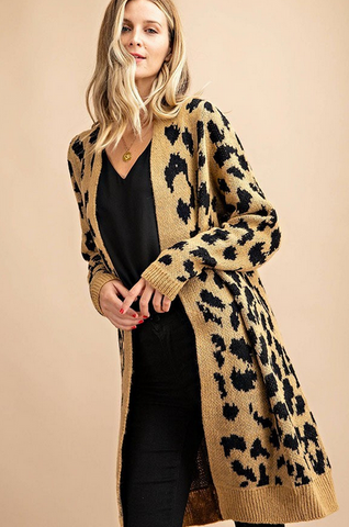 Bailey Long Leopard Cardigan