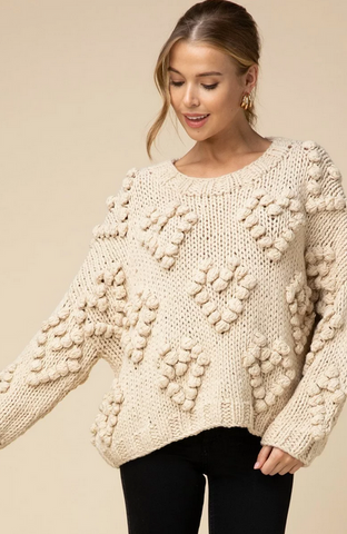 Milly Heart Pom Pom Sweater
