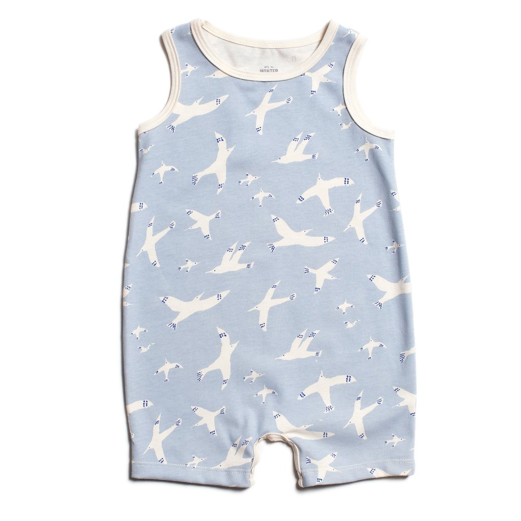 Tank Top Romper in Skybirds Blue