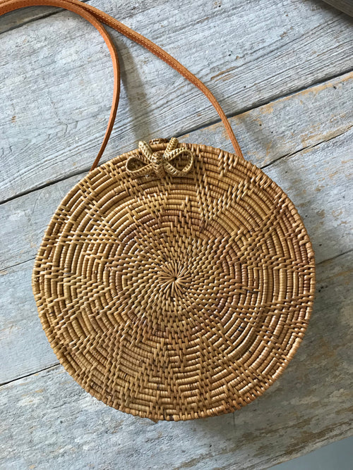 Cozumel Circle Rattan Bag in Natural