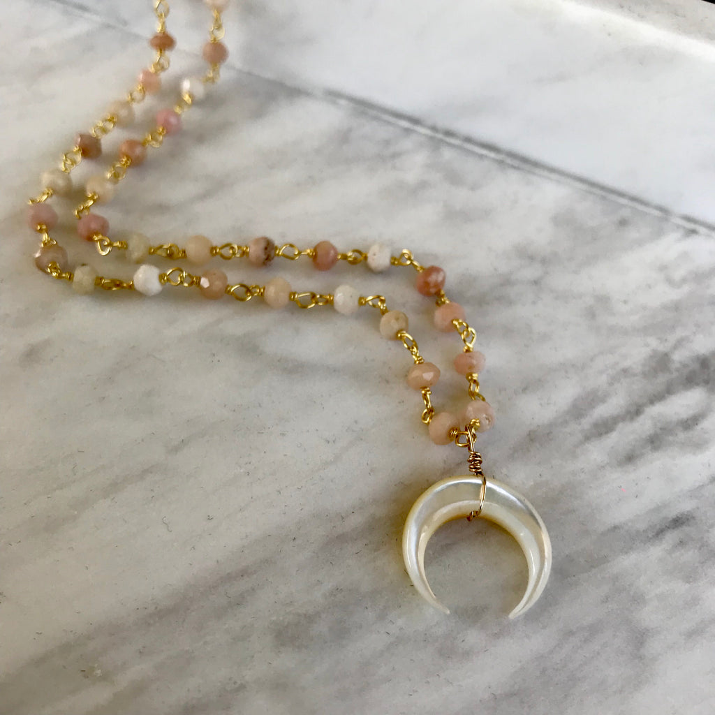 Tulum Necklace in Rose Opal