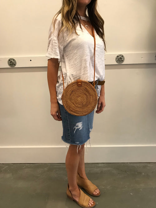 Tulum Circle Rattan Bag in Natural