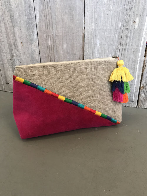 Lola Velvet Embroidered Pouch