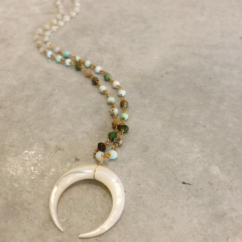 Exuma Necklace in Moonstone & Peruvian Opal