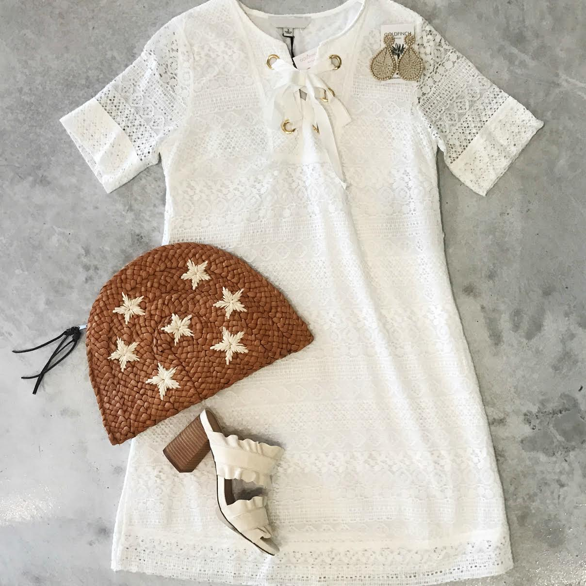 Jessie Short Sleeve Lace & Grommet Dress