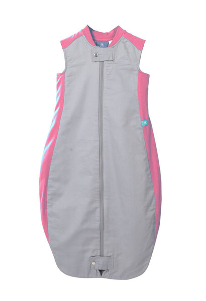 Organic Cotton & Bamboo Sleeping Bag: 1.0 Tog (Pink/Grey)