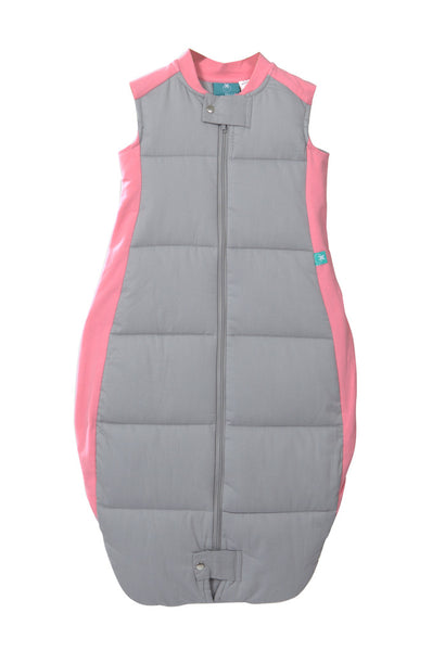 Organic Cotton Quilted Sleeping Bag: 3.5 Tog (Pink/Grey)