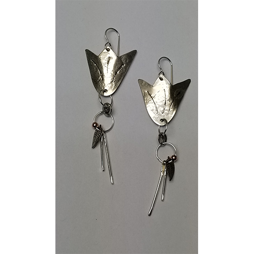 Silver on Silver  Tulip earrings