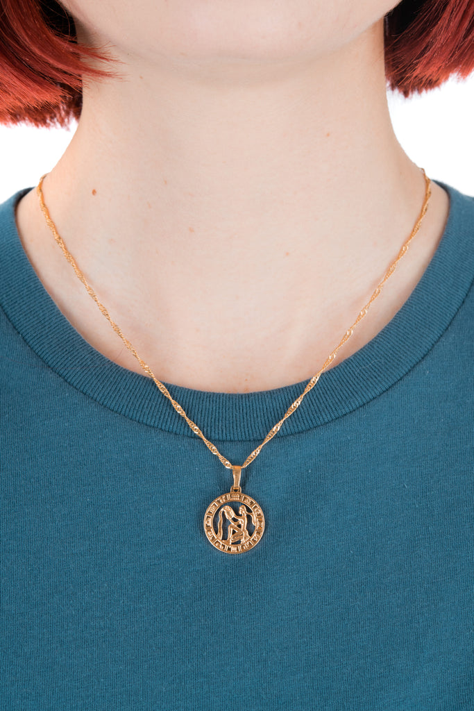 Zodiac Charm Necklace in Gold