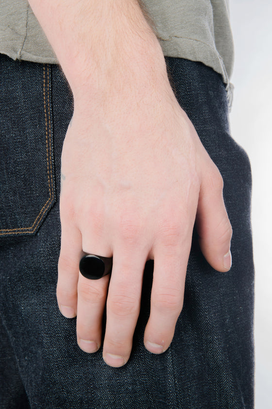 Men's Mirrored Signet Ring in Black