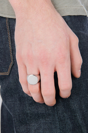 Mirrored Signet Ring in Silver - Philistine