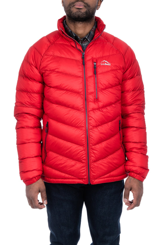 Men's LL Bean Ultralight 850 Down Jacket in Dark Red