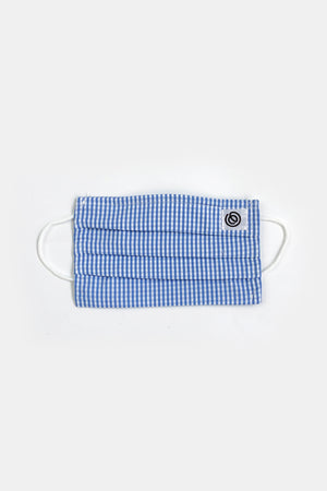 Easy Mondays Pleated Face Mask in Blue Gingham